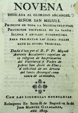 Novena dedicada al glorioso Arcángel señor San Miguel, príncipe