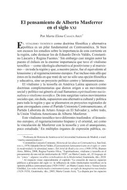 El pensamiento de Alberto Masferrer en el siglo XXI