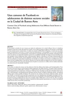 Usos comunes de Facebook en adolescentes de distintos sectores