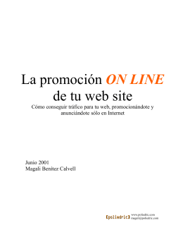 La promoción ON LINE de tu web site