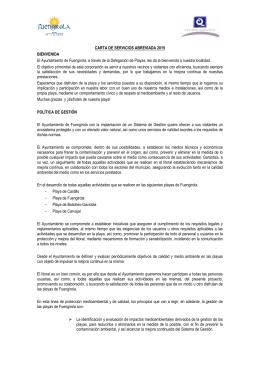 Carta de servicios de calidad de Playas 2015