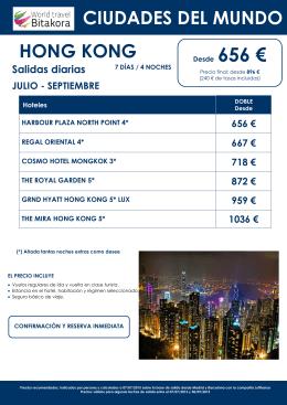 Hong Kong, desde 656€ + tasas