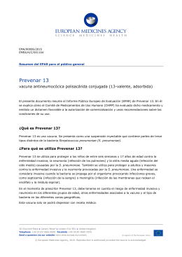 Prevenar 13: vacuna antineumocócica polisacárida