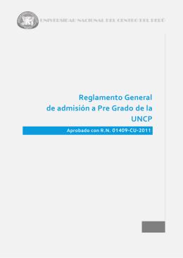 Reglamento General de admisión a Pre Grado de la UNCP