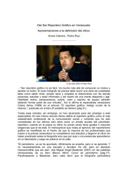 Del Ser Reportero Gráfico en Venezuela: Aproximaciones a la