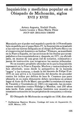 Inquisición y medicina popular en el Obispado de Michoacán, siglos