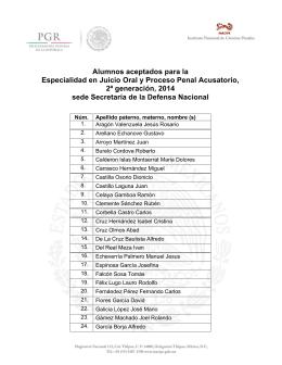 Alumnos aceptados para la Especialidad en Juicio Oral y