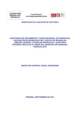 auditorias de seguimiento - Contraloría General de Risaralda