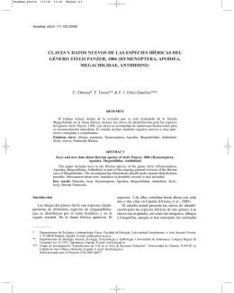 Claves y datos nuevos de las especies ibéricas - Graellsia