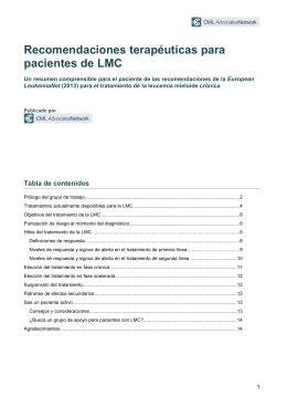 Recomendaciones terapéuticas para pacientes de LMC