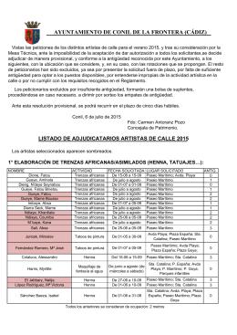 Adjudicación Provisional - Ayuntamiento de Conil de la Frontera