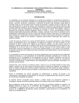 """""""EL ORIGEN DE LA CONTABILIDAD. EVOLUCIÓN HISTÓRICA DE"""