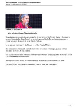 Rocío Banquells anuncia temporada de conciertos