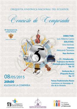 el Programa de mano aquí. - Orquesta Sinfónica Nacional del Ecuador