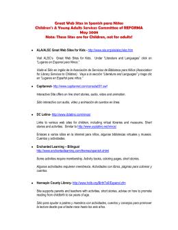 Great Web Sites in Spanish para Niños