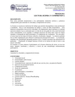 LECTURA RÁPIDA Y COMPRENSIVA - Universidad Rafael Landívar