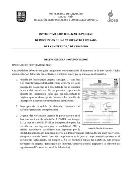 Instructivo sobre la Consignación de Documentos en las Inscripciones