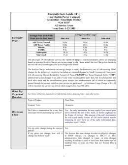 Electricity Facts Labels (EFL) Hino Electric Power Company