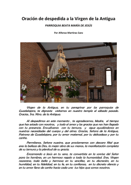 Oración de despedida a la Virgen de la Antigua
