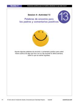 Palabras de encomio para los padres y comentarios positivos