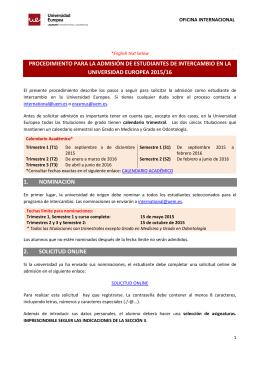 procedimiento para la admisión de estudiantes de intercambio en la