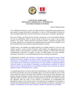PARTITURA SEMINARIO PEDAGOGÍA, FORMACIÓN Y