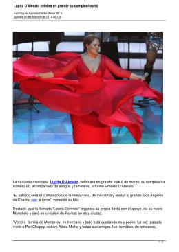 Lupita D`Alessio celebra en grande su cumpleaños 60
