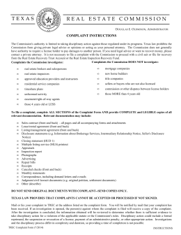 Complaint Form, 07-2014 - Texas Real Estate Commission