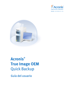 Capítulo 2. Acronis True Image OEM Quick Backup