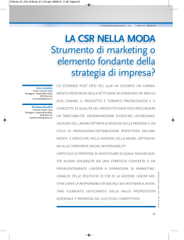 LA CSR NELLA MODA Strumento di marketing o