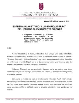 """estrena planetario """"luis enrique erro"""" del ipn dos nuevas proyecciones"""
