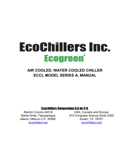 AIR COOLED, WATER COOLED CHILLER ECCL MODEL SERIES