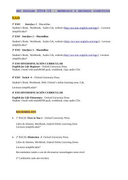 ano escolar 2014-15 : materiais e recursos