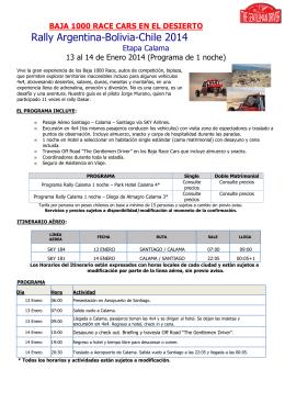 Etapa Calama 12-13 Enero 2014- 1 noche