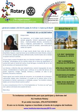 Boletín Nro 5 del Instituto Rotary Puerto Iguazú 2015