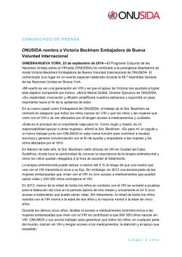 ONUSIDA nombra a Victoria Beckham Embajadora de Buena
