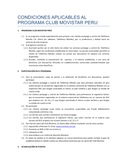 condiciones aplicables al programa club movistar peru