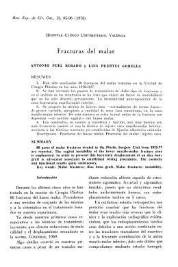 Fracturas del malar - Revista Cirugía Osteoarticular