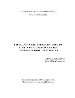 SELECCION Y DIMENSIONAMIENTO DE TURBINAS