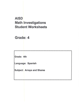 Math Investigations Student Worksheets Grade: 4