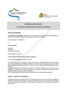 CONVENTION DE DON n°2015-0001 À la Collectivité de Saint