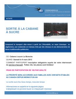 SORTIE À LA CABANE À SUCRE - L`Hirondelle | Services d`accueil