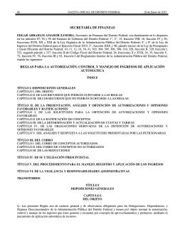 secretaría de finanzas reglas para la autorización, control y manejo