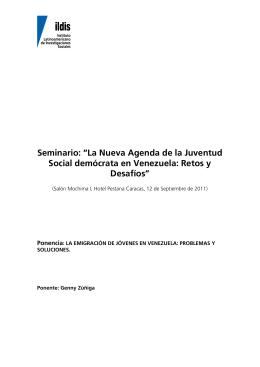 La emigración de jóvenes en Venezuela:problemas y