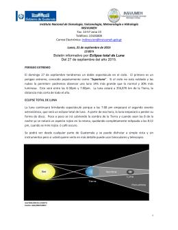 Boletín informativo por Eclipse total de Luna Del 27 de