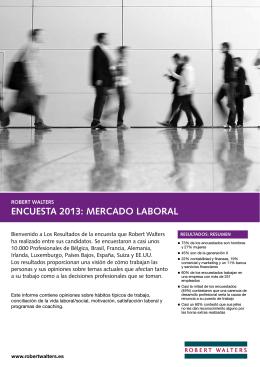 ENCUESTA 2013: MERCADO LABORAL