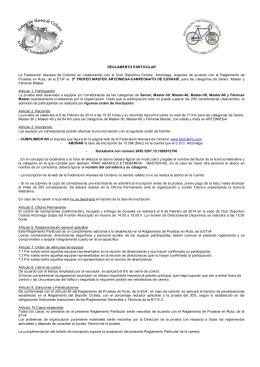 REGLAMENTO PARTICULAR La Federación Alavesa de Ciclismo