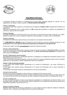 Reglamento Particular - Federación Alavesa de Ciclismo