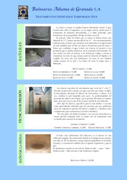 Nuestras Terapias - Balneario Alhama de Granada
