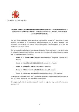 1 CORTES GENERALES INFORME SOBRE LA III CONFERENCIA